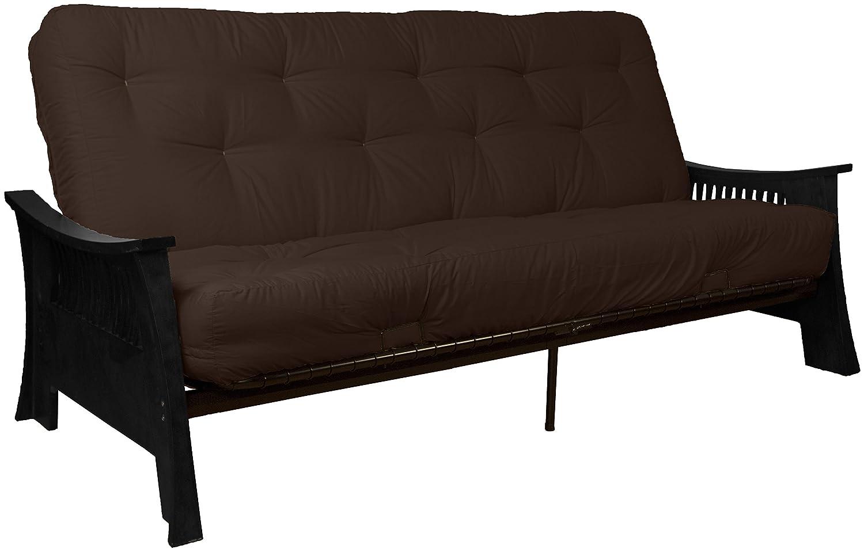 Tokyo True 8 Cotton Foam Futon Sofa Sleeper Bed, Full, Black Frame, Microfiber Suede Ebony Black Upholstery