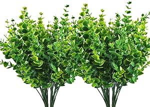 Artificial Shrubs, Treeding Fake Plastic Greenery Plants Eucalyptus Leaves Bushes, Indoor Outdoor Outside Home Garden Office Verandah Decor 4pcs