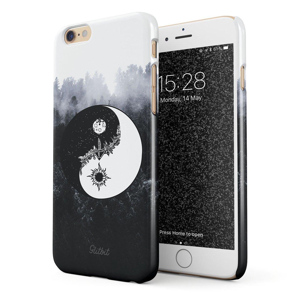 Glitbit Cover per iPhone 6 6s Case Yin Yang Mandala Nature Landscape Mountains Forest Tumblr Sottile Guscio Resistente in Plastica Dura Custodia Protettiva