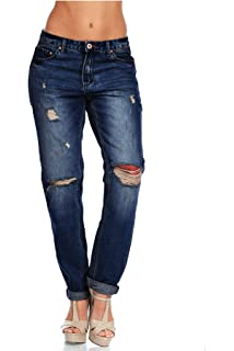 d0fcb9941d9 Amazon.com: TheMogan Distressed Girlfriend Straight Relaxed Roll Up ...