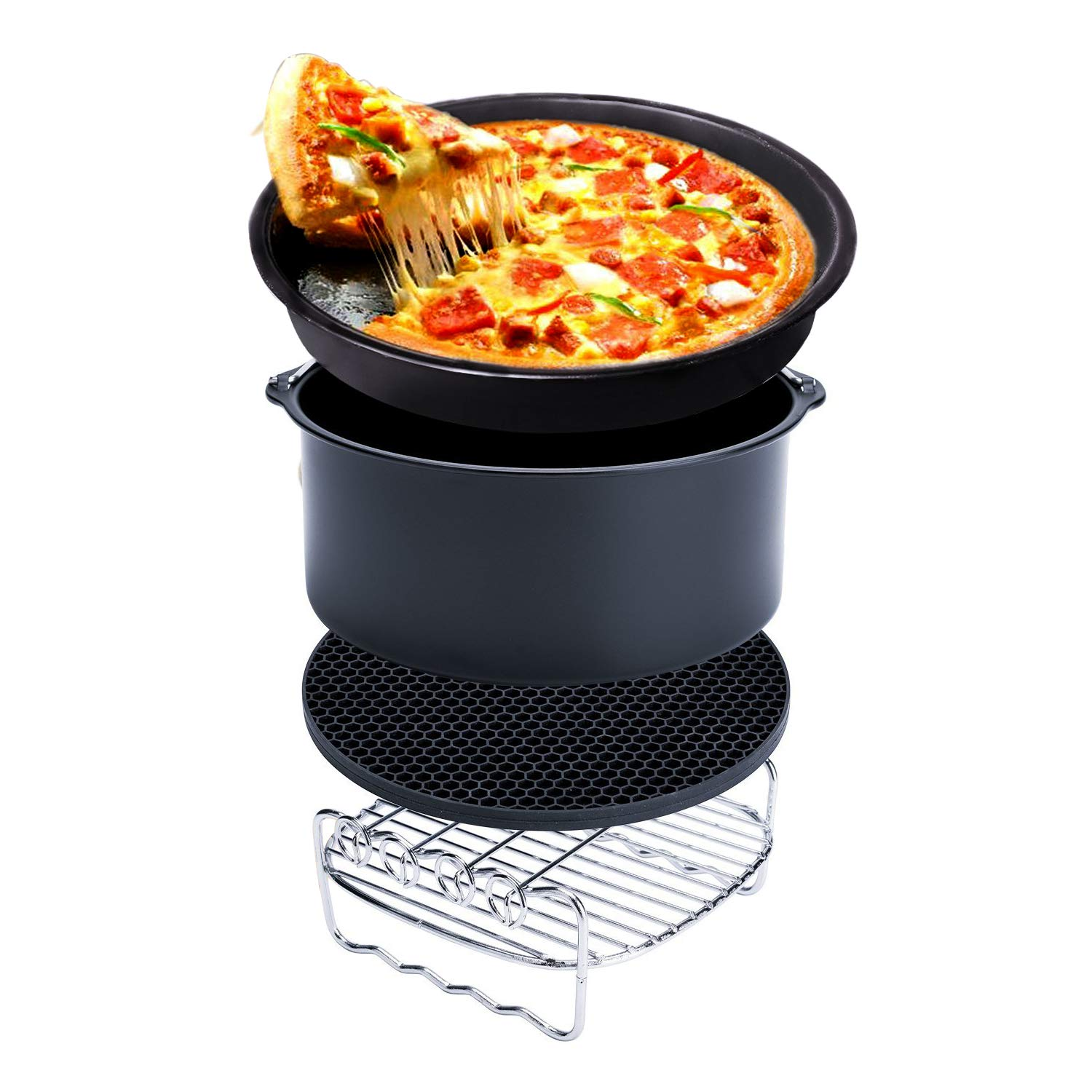 Air Fryer Accessories for Gowise Phillips and Cozyna, Air Fryer Accessory Kit fit All 3.7QT-5.3QT-5.8QT, Set of 5 (7 inch), Cake Barrel, Pizza Pan, Metal Holder, Skewer Rack, Silicone Mat by SLC