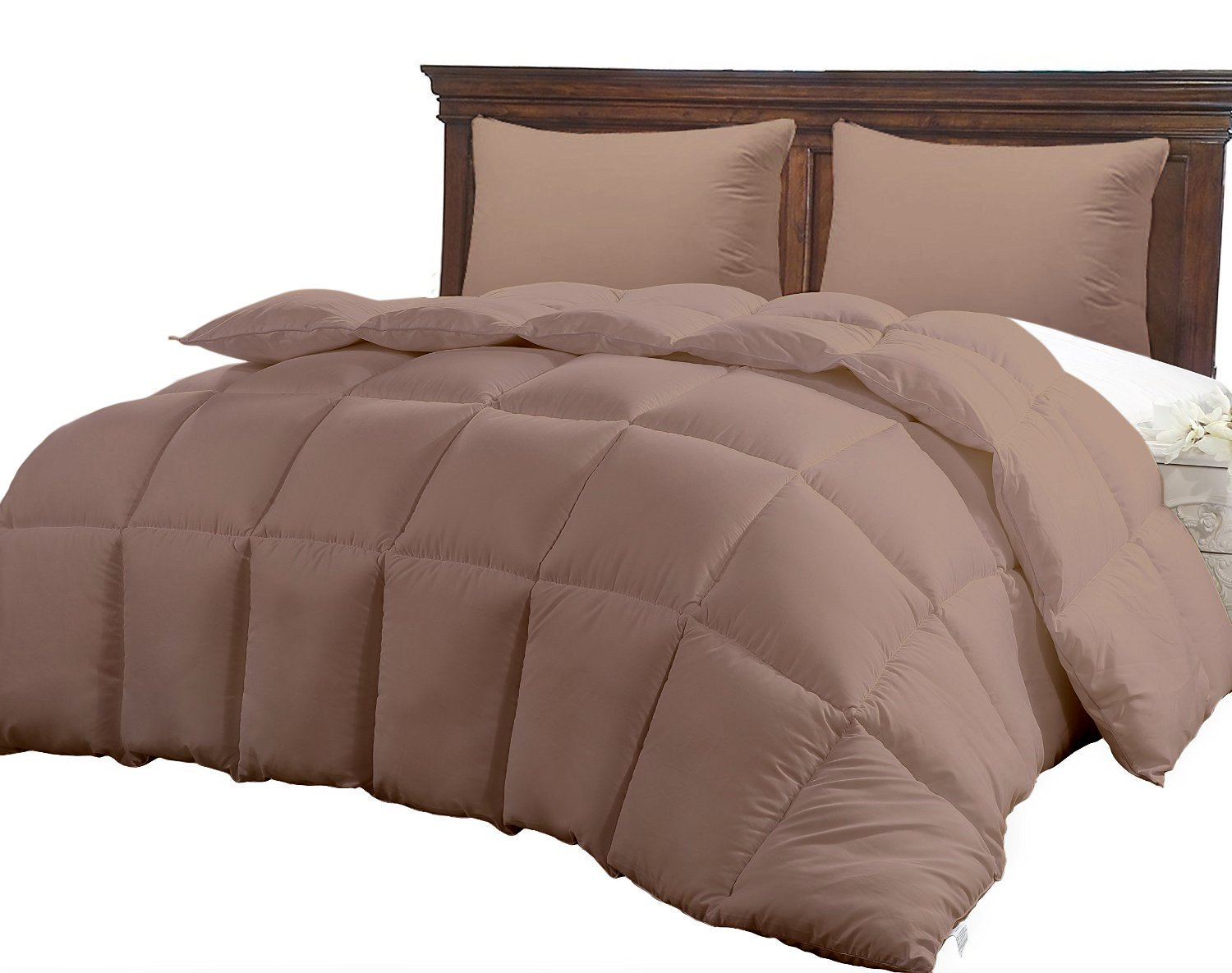 CGK Unlimited King Size Comforter - Solid Squared Duvet Insert Brown - Softer Than Goose Down Alternative Duvets - All Season Comforters