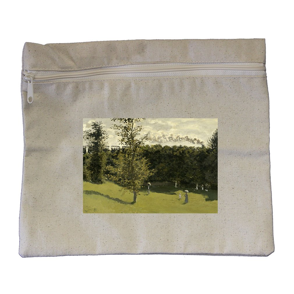 Train In The Countryside (Monet) Canvas Zippered Pouch Makeup Bag