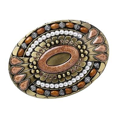 P Prettyia Boucle de Ceinture en Alliage Perles en bois + Strass Incrustés  Ovale pour Homme 5d2b888cbca