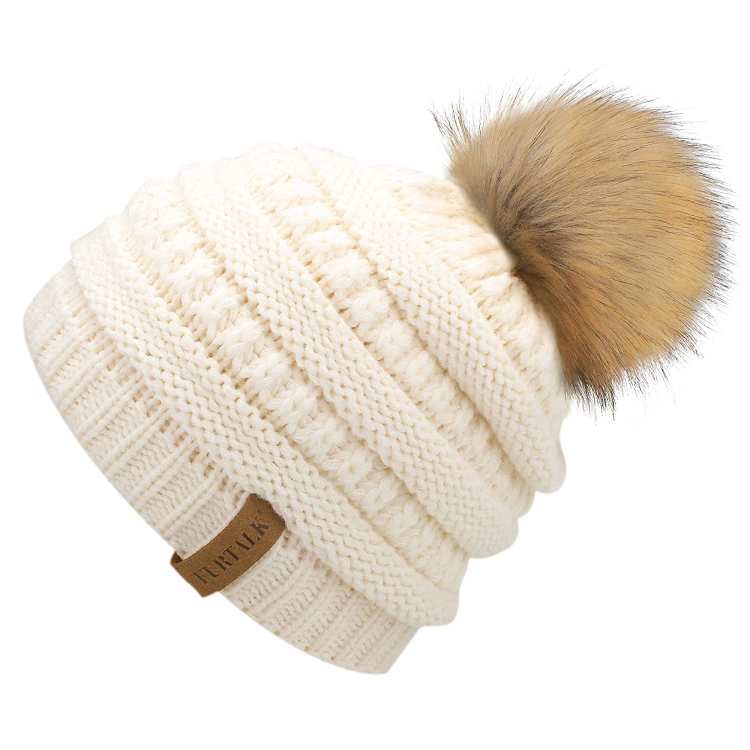 7a0ce4a857d Amazon.com  FURTALK Kids Girls Boys Winter Knit Beanie Hats Faux Fur Pom  Pom Hat Bobble Ski Cap Toddler Baby Hats 1-5 Years Old (One Size