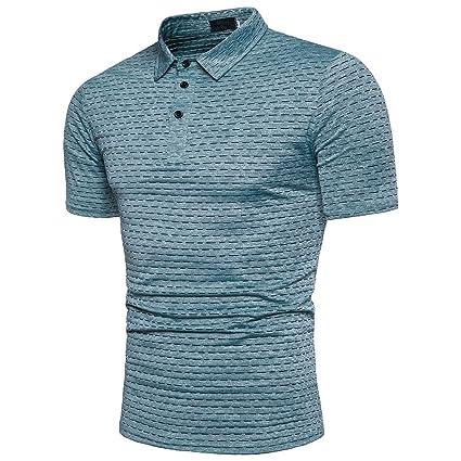 Cinnamou Blusa de Hombre con Cuello EN V Manga Corta Camiseta de Los Hombres Tops i3ucL