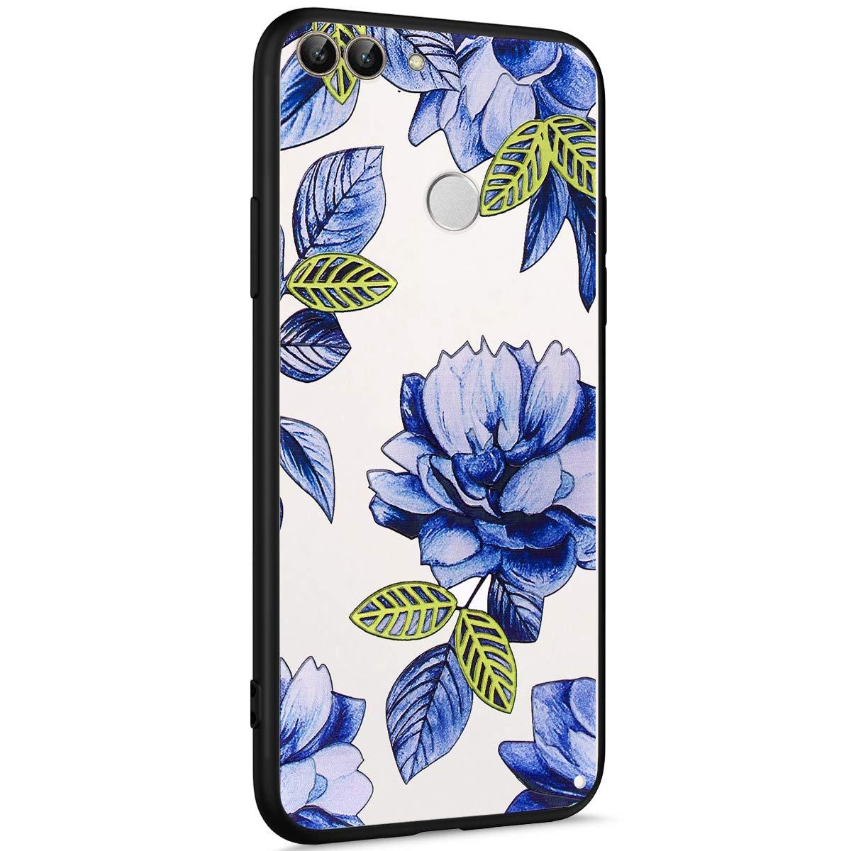 Compatibile con Cover Huawei P Smart//Huawei Enjoy 7S Custodia Silicone Morbido,Bling Brillantini Fiori Farfalla 3D Painted Pattern Bianca Silicone Cover Ultra Slim TPU e PC Anti-Scratch Case