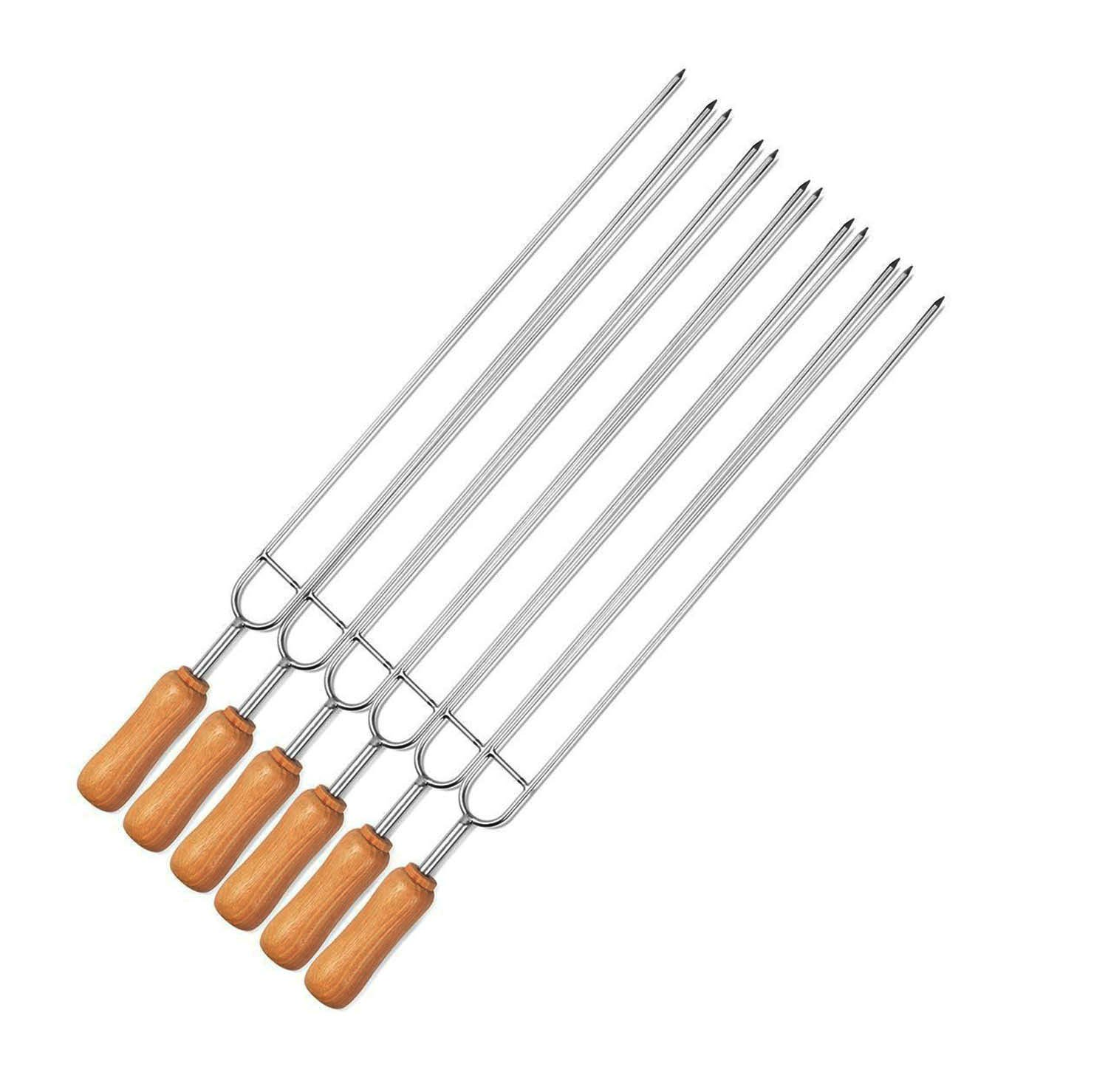 Double Prongs Barbecue Grill Skewers Set Wood Stainless Steel 13.7 inch 6 Pieces