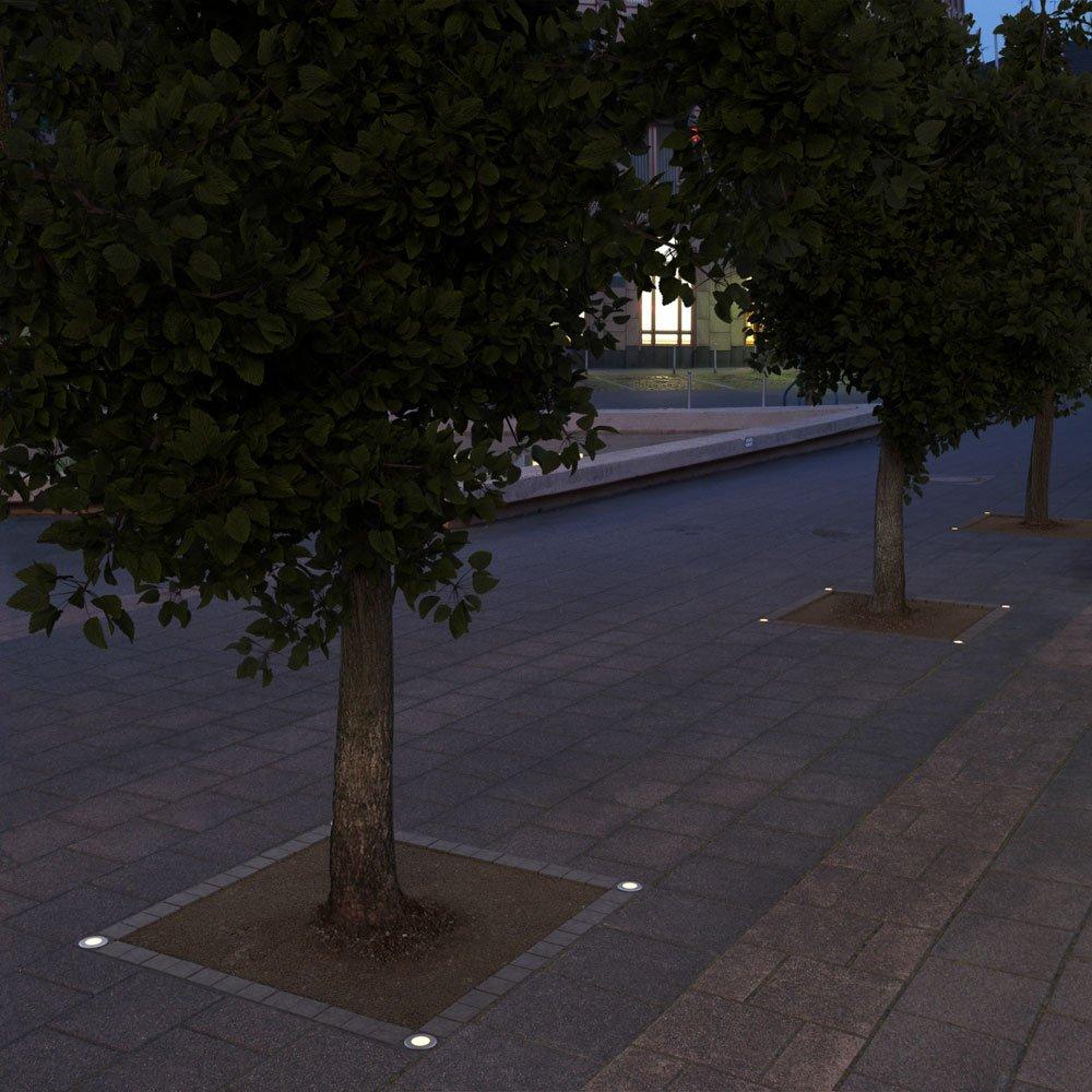 ledscom.de LED Lampada da Incasso a Suolo Ain da Esterno Bianca Calda 55lm IP67 99mm /Ø