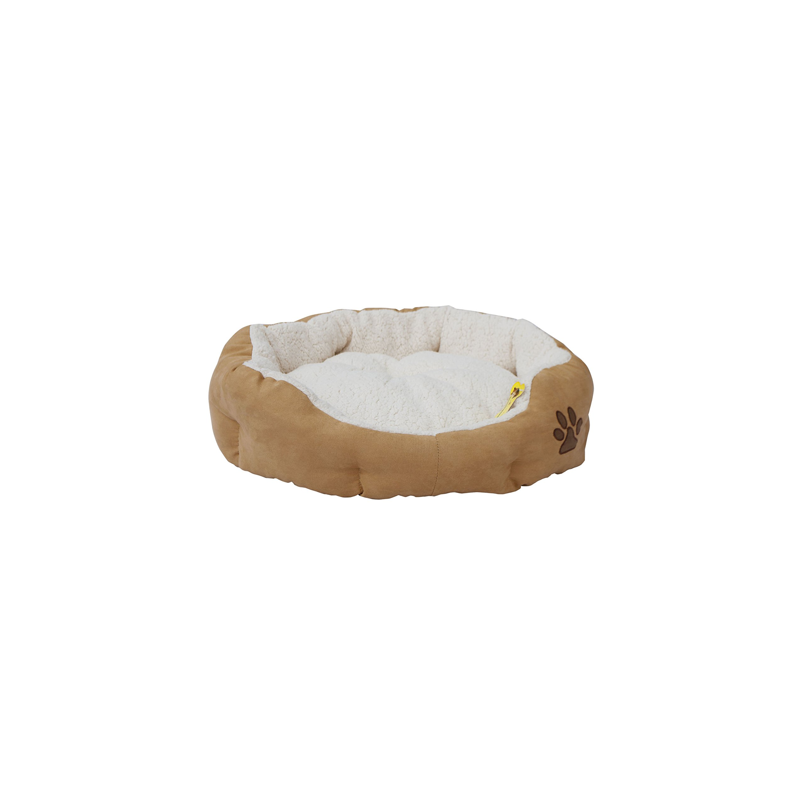 ALEKO PB02S Small Plush Pet Cushion Crate Bed for Dogs Cats Machine Washable Indoor Outdoor with Removable Insert Pillow 18 x 17 x 6 Inches Beige and White