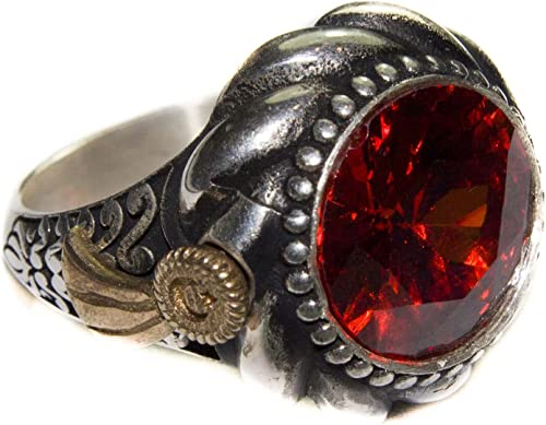 Falcon Jewelry Unisex Sterling Silver Ring Ottoman empaire Ring Handmade Created Garnet Stone