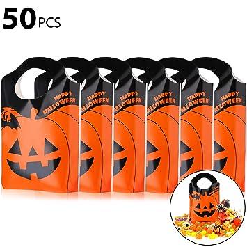 Queta Bolsas Caramelos de Regalos para Halloween 50 Piezas Bolsas para Niños de Fiesta de cumpleaños, Halloween o Navidad