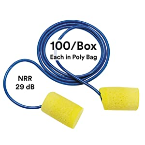3M Ear Plugs, E-A-R Classic 310-1080, Foam, Corded, Disposable, NRR 29, For Drilling, Grinding, Machining, Sawing, Sanding, Welding, 1/Poly Bag, 100/Box