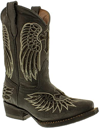 Wings Leather Cowgirl Boots Snip Toe