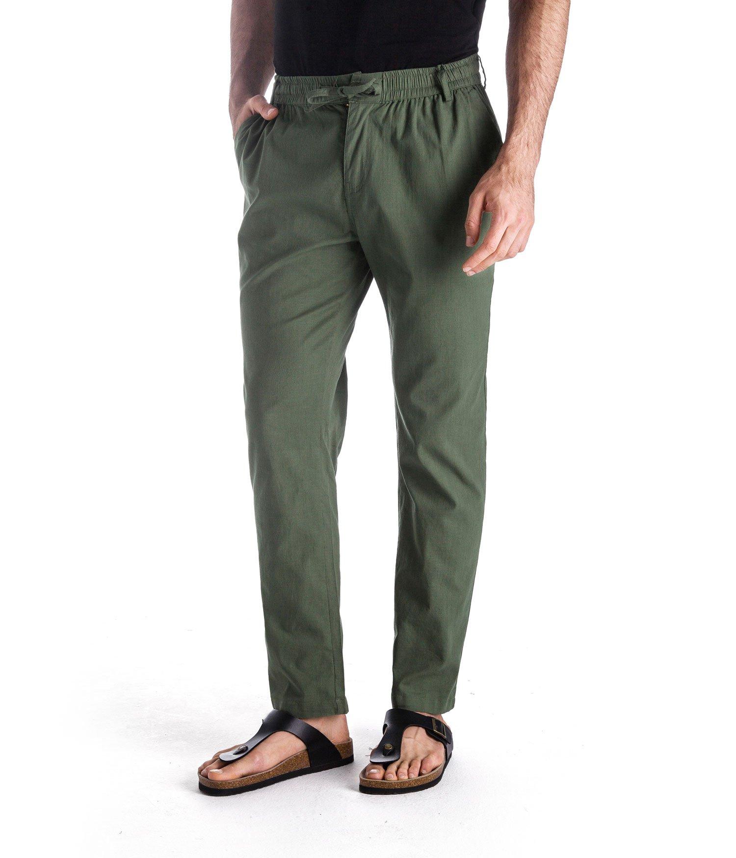 MUSE FATH Men's Linen Drawstring Casual Beach Pants-Lightweight Summer Trousers-Green-XL