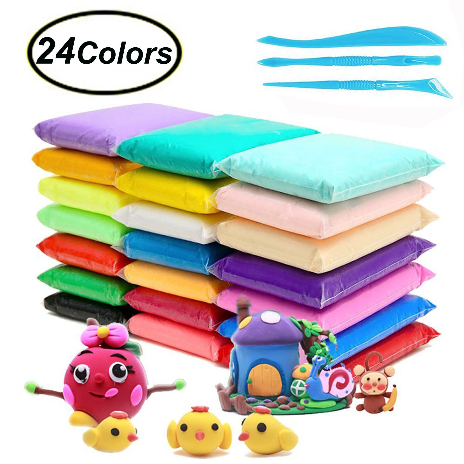 Fluffy Slime Kit, Swallowzy 24 Colors Air Dry Clay Ultra Light Modeling Polymer Clay Set Soft Modeling Dough Wonderful DIY Educational Creative Gift for Kids