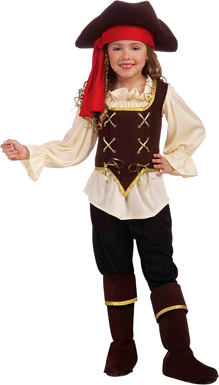 Pretty Scoundrel Pirate Girls Fancy Dress Caribbean Bucaneer Kids Childs Costume