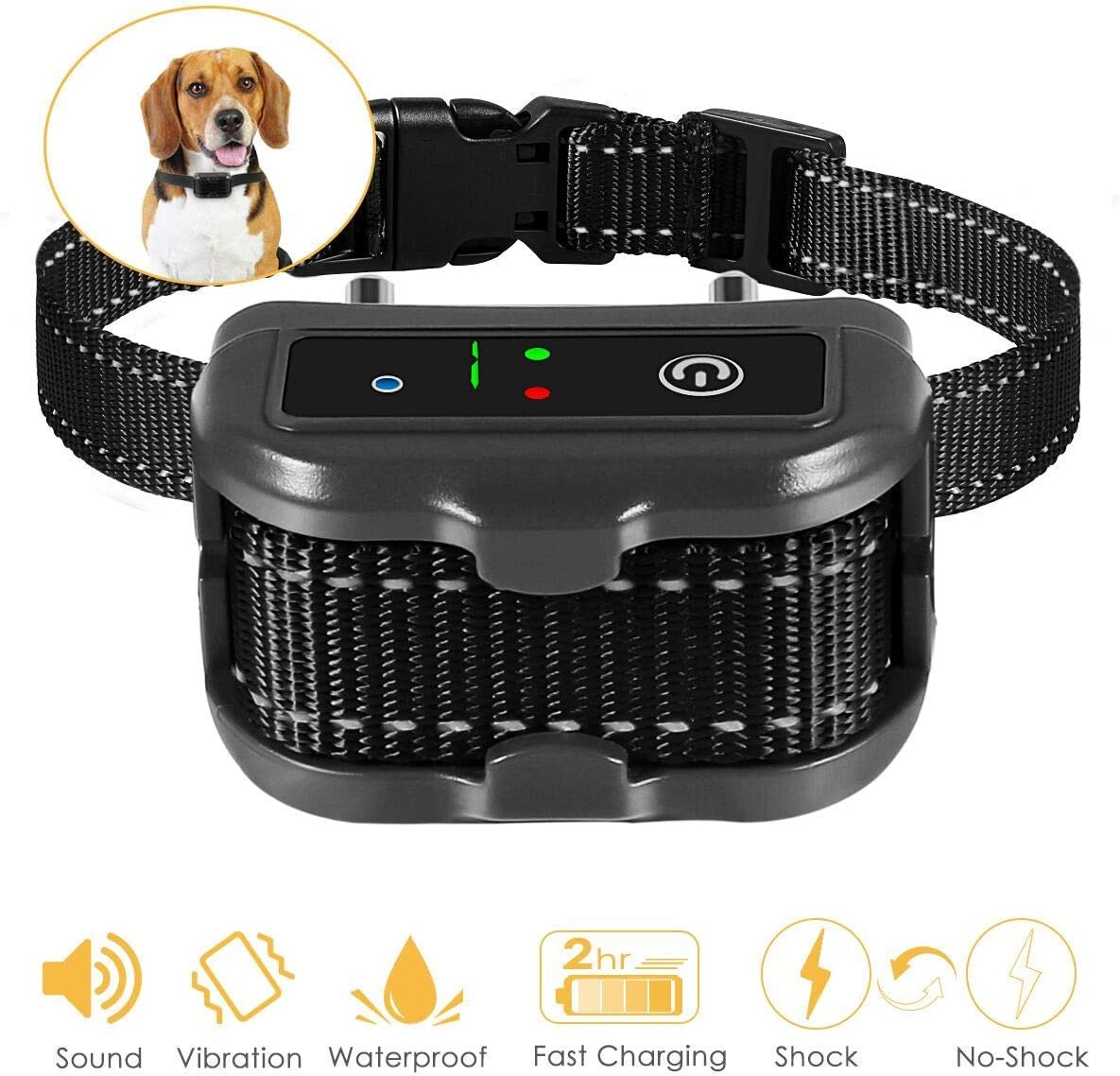 ELenest Premier Pet Bark Collars, 2019 Best Anti Bark Collar for Small Large Dogs, Smark Dog Training Behavior Aids, Rechargeable Adjustable Dog Training Collars, Barking Detection, Waterproof