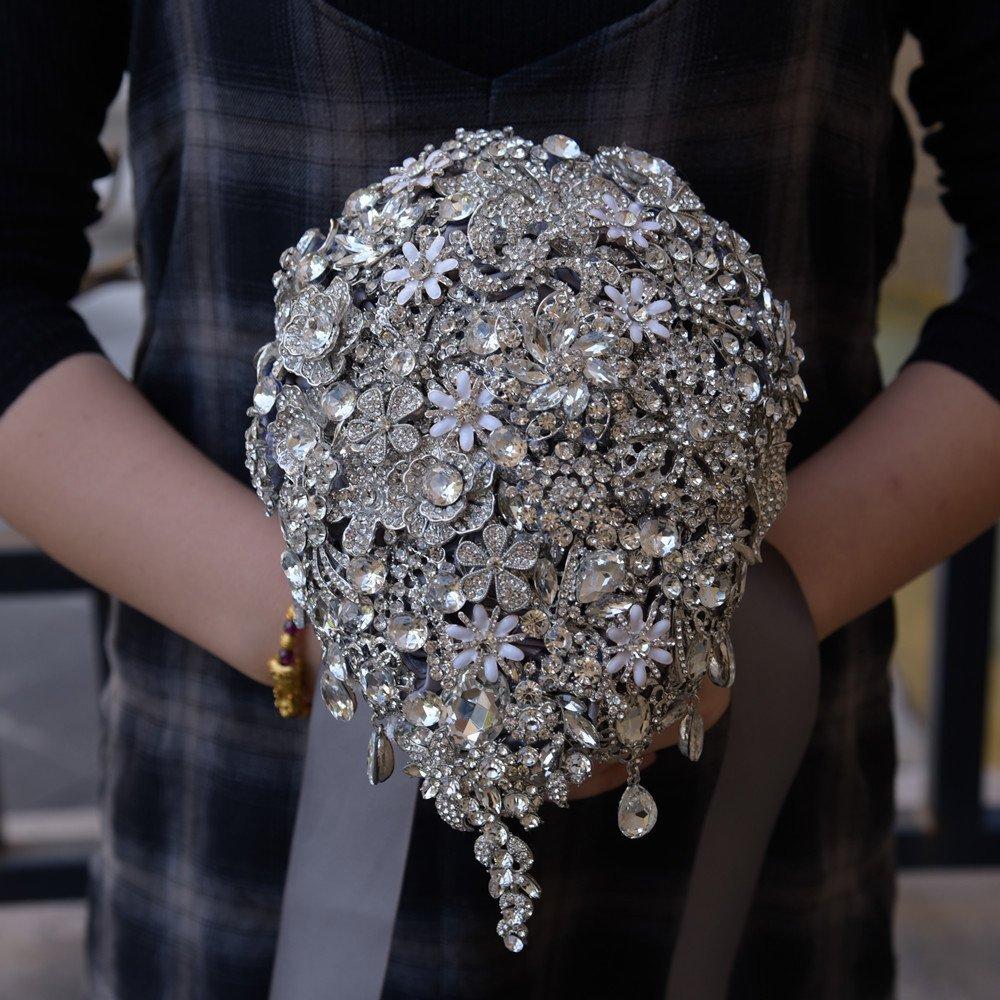 4e69939f9b46 Amazon.com  Customize Grey brooch bouquet high-end custom wedding bridal  bouquets crystal diamond teardrop style Bride  s Bouquet wedding  decoration  Home   ...
