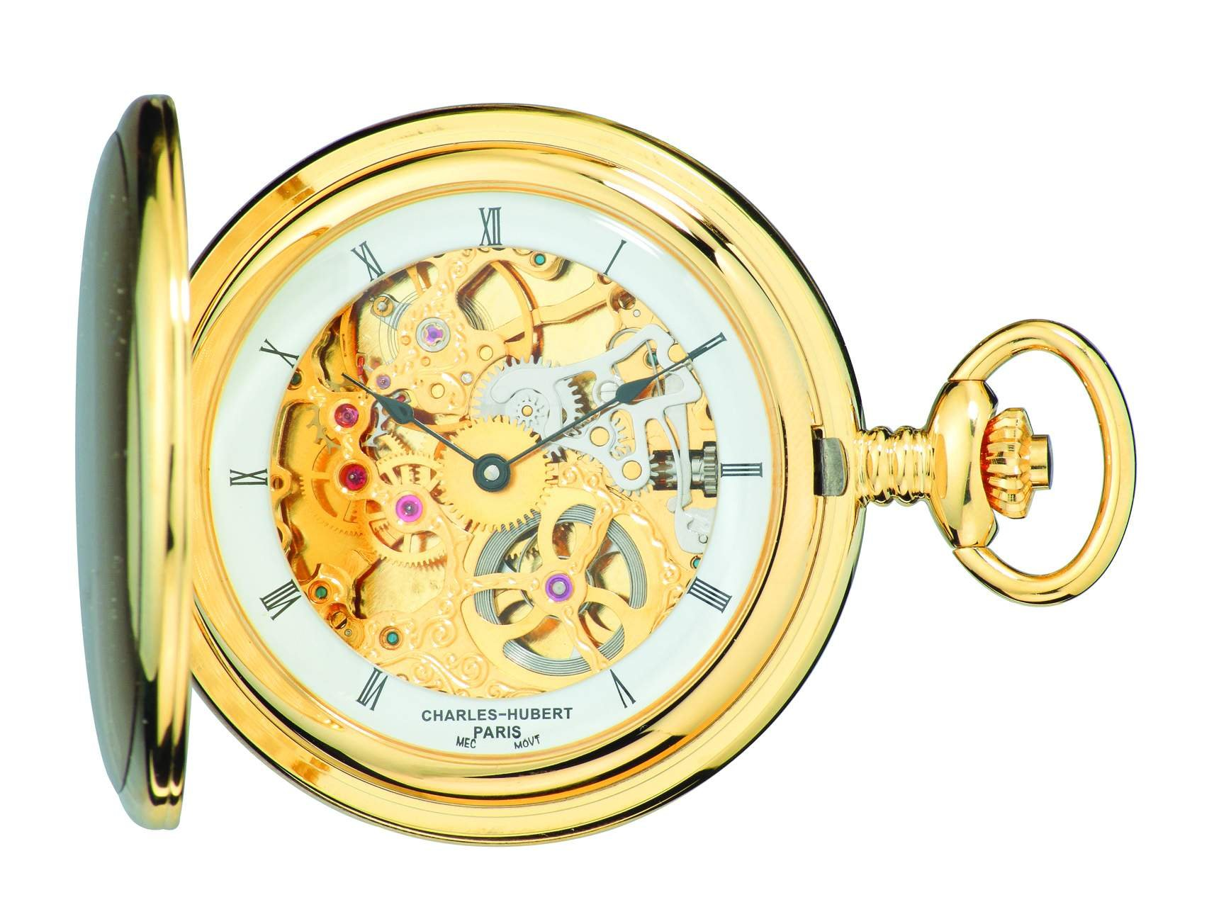 Charles-Hubert, Paris 3906-G Premium Collection Gold-Plated Stainless Steel Satin Finish Hunter Case Mechanical Pocket Watch