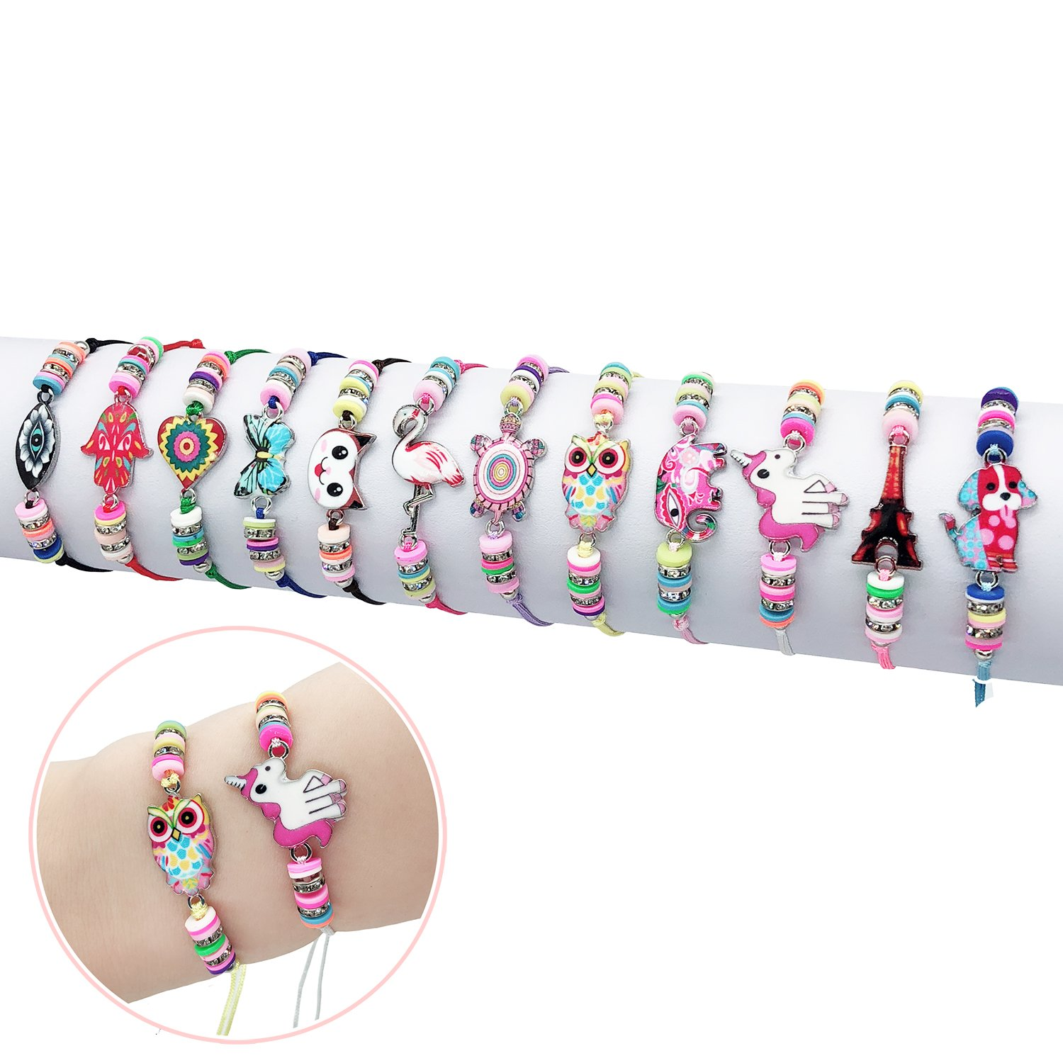 Elesa Miracle 12Pc Women Girl Unicorn Owl Woven Friendship Value Set Kids Party Favor Adjustable Bracelet, One Size, Multicolor by Elesa Miracle
