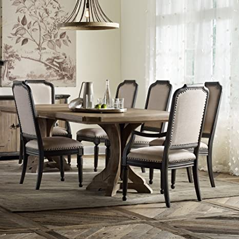 Hooker Furniture Corsica Pedestal Dining Table with 2 Leaves in Light Wood