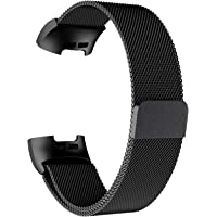 AdePoy Replacement Strap Bands Compatible For Fitbit Charge 3, Stainless Steel Milanese Wristbands Smart Watch Bracelet with Unique Magnet Lock Small Large Women Men