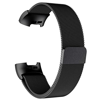 POY Metal Replacement Bands Compatible for Fitbit Charge 3 and Charge 3 SE  Fitness Activity Tracker, Milanese Loop Stainless Steel Bracelet Strap with