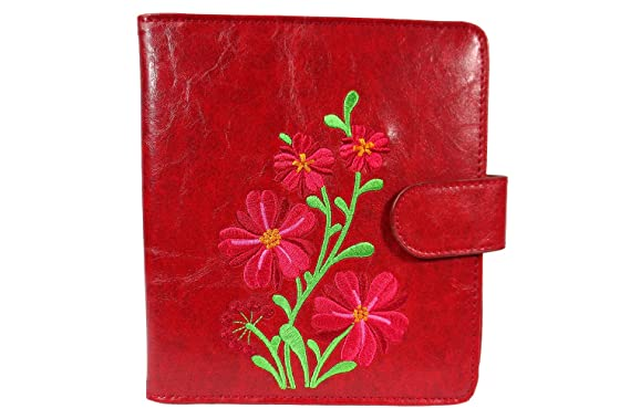 Lavishy Carnation Flower Embroidered Womens Travel Passport Wallet (Red) 923b83a7b6