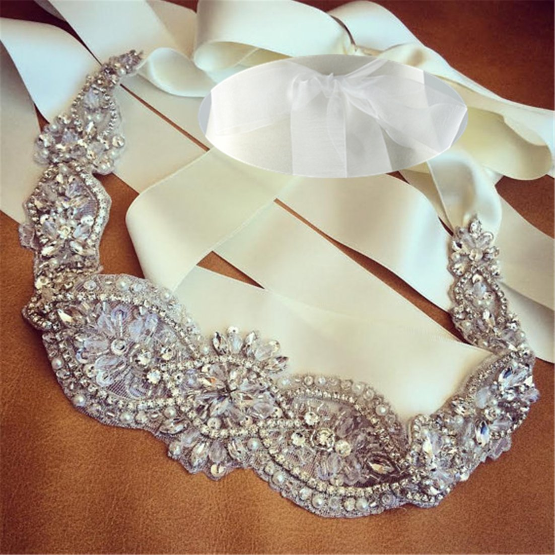 QueenDream bridal belts White Organza crystal belt bridesmaid dress belt rhinestone belts crystal belts for women For Prom Party Evening Dresses
