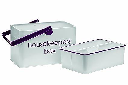 Premier Housewares - Cesto metálico con bandeja extraíble, color negro con letras blancas