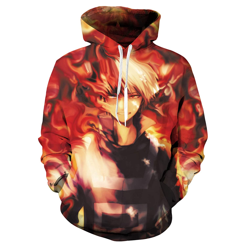 My Hero Academia Anime Hoodie 3D Printed Boku no Hero Academia Cosplay Costume Pullover Sweatshirt
