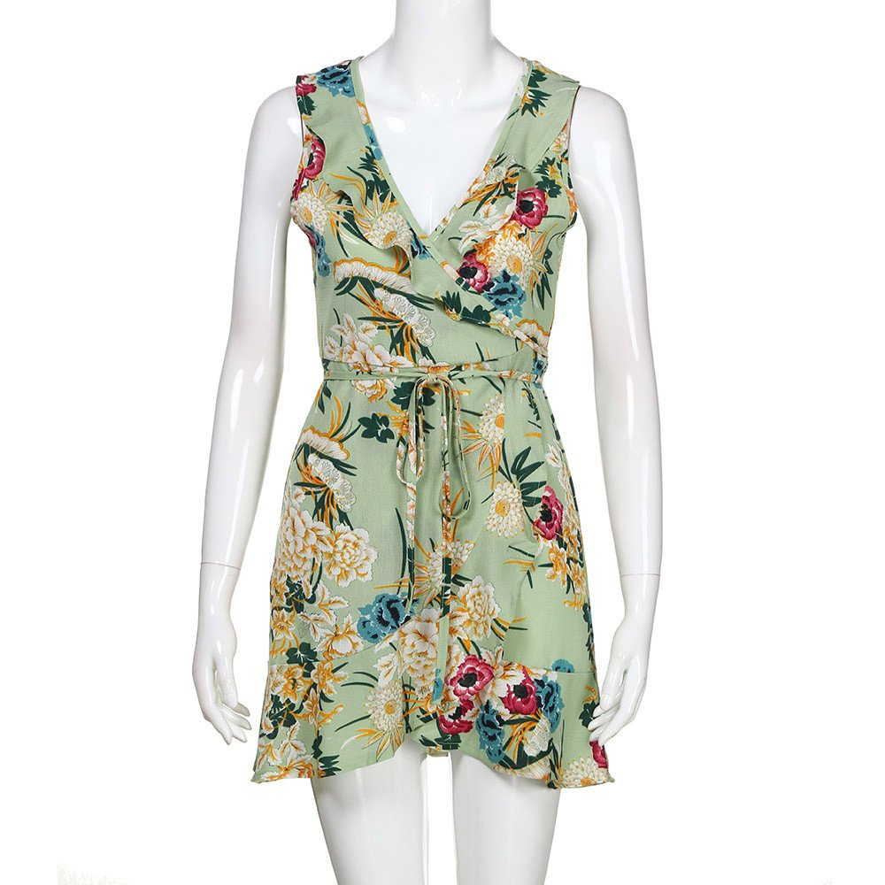 Dresses for Women Work Casual,Summer Dresses for Women,Women's Dresses Spaghetti Strap Floral Print A Line Mini Dress Green by Wugeshangmao Dress (Image #3)