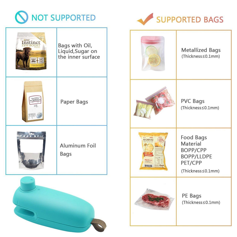 [2018 Upgrade] Mini Bag Sealer, 2 in 1 Chip Bag Heat Sealer and Cutter Hand  Held Portable Chip Saver for Plastic Bags Food Storage Resealer Green