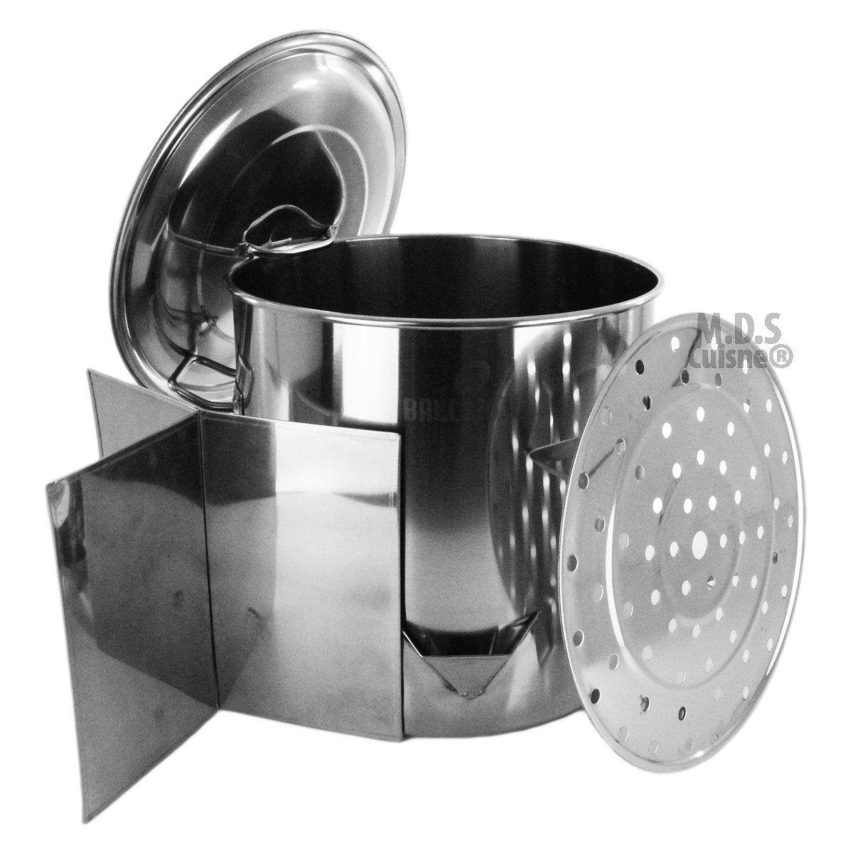 "Stock Pot Stainless Steel 52""QT Lid Steamer Brew Vaporera Divider Tamales New"