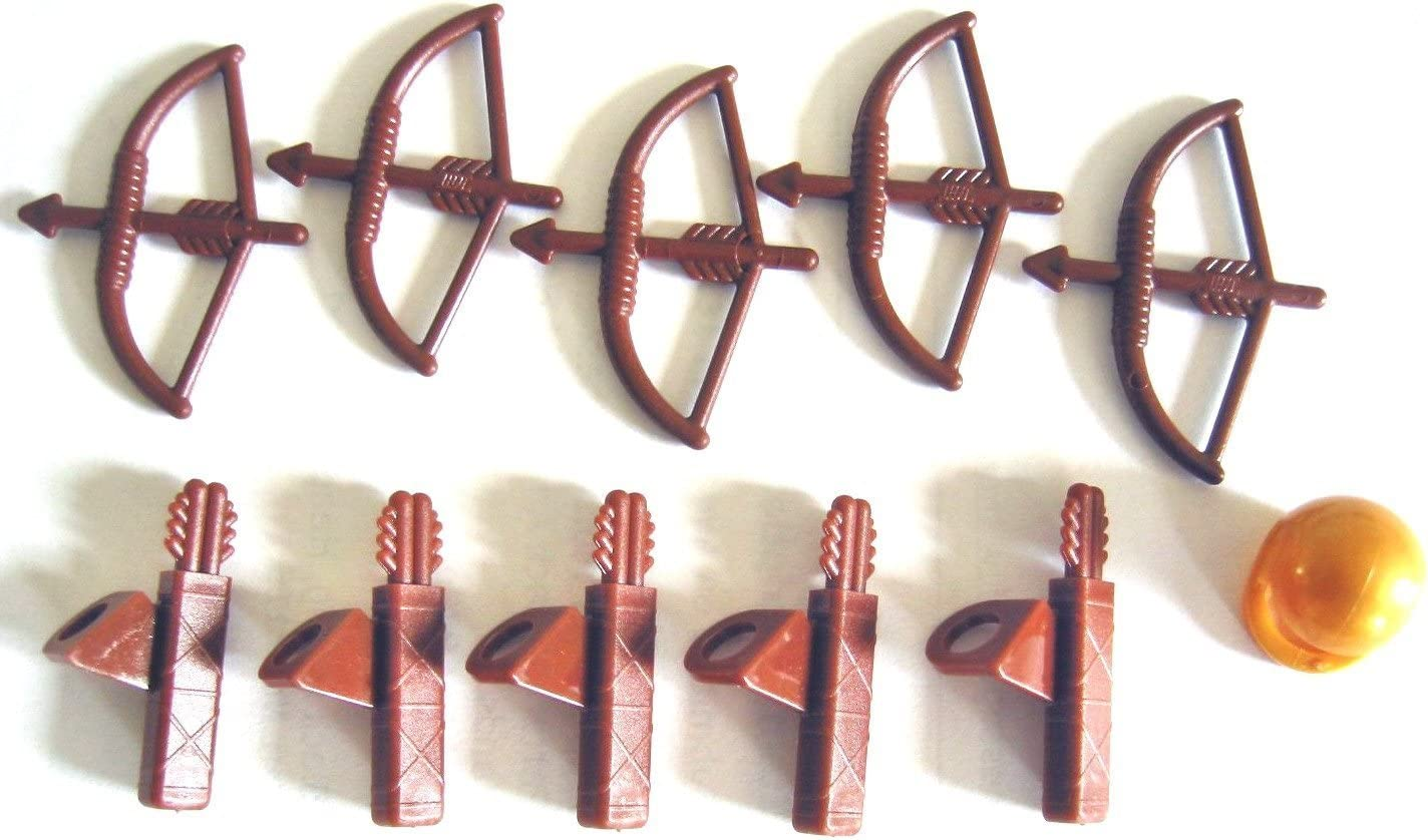 LEGO Castle Minifig Parts: 5x Reddish Brown Weapon Bow with Arrow, 5x Arrow Quiver and 1x golden Helmet - Loose Parts