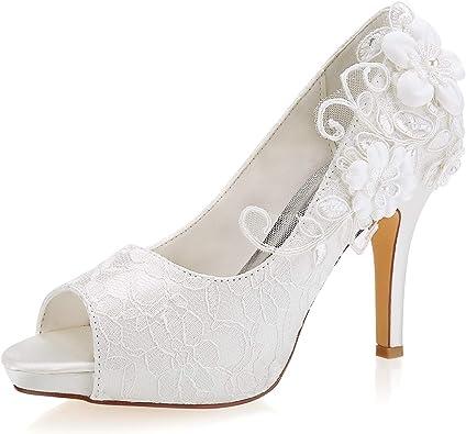 Amazon Com Emily Bridal Wedding Shoes Lace Wedding Shoes Ivory Lace Peep Toe High Heel Bridal Shoes Pumps