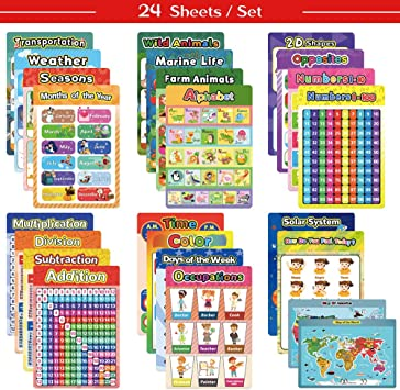 HOUMESO 22 Educational Poster for Preschool Kindergarten Classroom Poster with Glue Point Dot Learning Alphabet Colors Numbers Shapes Weather Solar System Map etc