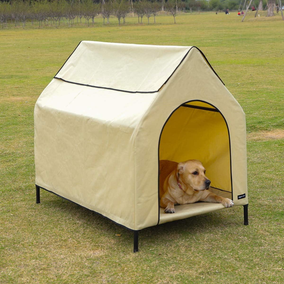 AmazonBasics - Caseta para mascotas, elevada, portátil, grande, caqui