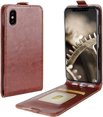 Flip Cover per Apple iPhone X - Portafoglio Verticale Custodia   Marrone