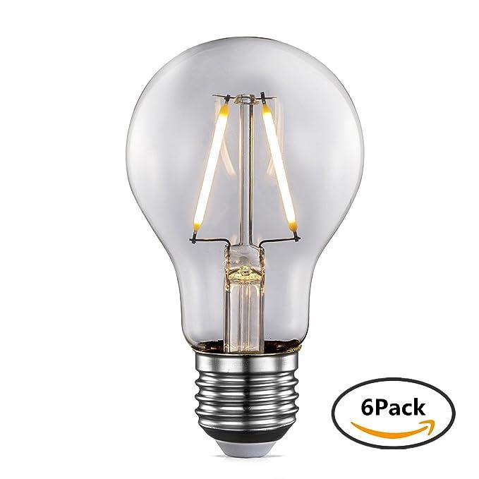 TRANSTEC® 6X Ampoule à Filament LED A60 2W, Ampoule à Incandescence Équivalent 20W, Blanc chaud (2700K), 220-240V E27,Edison COB Transparent, Angle de diffusion 360, Non-dimmable[Classe é