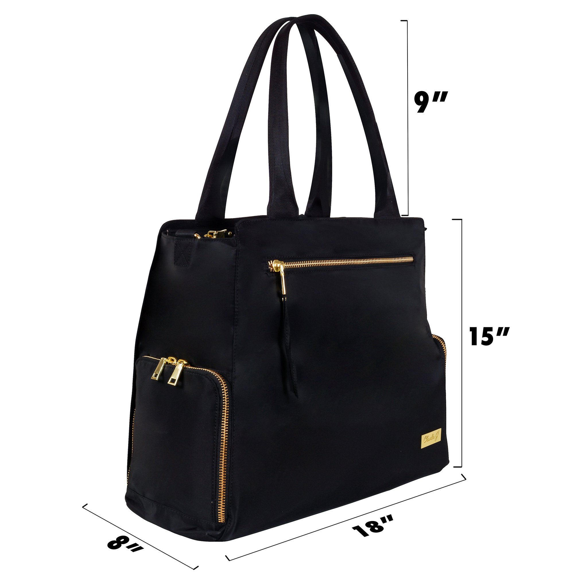 The New Yorker Breast Pump Bag by Charlie G, Black/Gold (Large) by Charlie G Bags (Image #3)