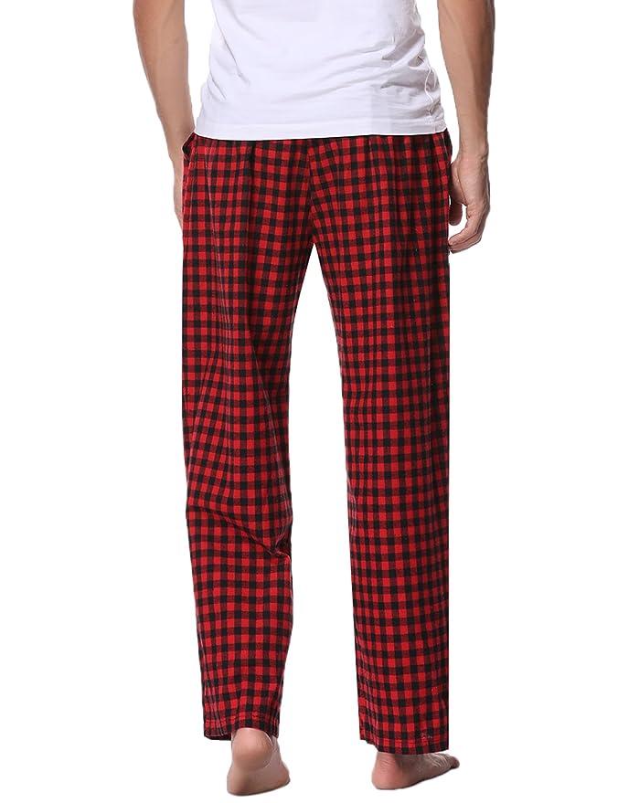 Mens Pyjama Lounge Pants Elasticated Trousers Bottoms Flannel Check 100% Cotton Men's Clothing