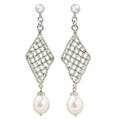 Amazon novica pink cultured freshwater pearl 925 sterling novica pink cultured freshwater pearl 925 sterling silver chandelier earrings diamond chandeliers aloadofball Image collections