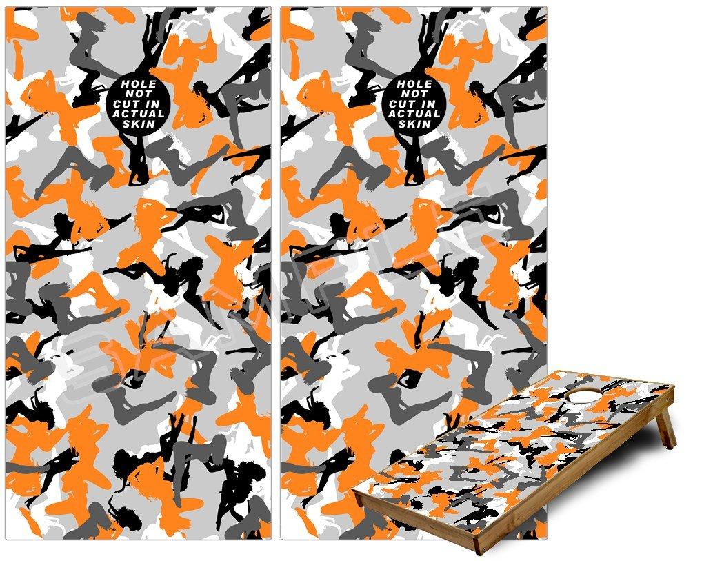 Cornhole Bag Toss Gameボードビニールラップスキンキット – Toss セクシーガールシルエット迷彩オレンジ( Fits B00HXQ2BC4 24 x NOT 48ゲームボード – Gameboards NOT INCLUDED ) B00HXQ2BC4, ホバラマチ:c308bcf9 --- sharoshka.org