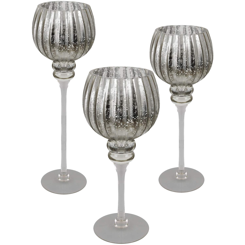Multistore 2002 3tlg Glaskelch Windlicht Set H40//35//30cm mit silbernen geriffelten Kelch auf Fu/ß Kerzenhalter Kerzenst/änder Kerzenleuchter