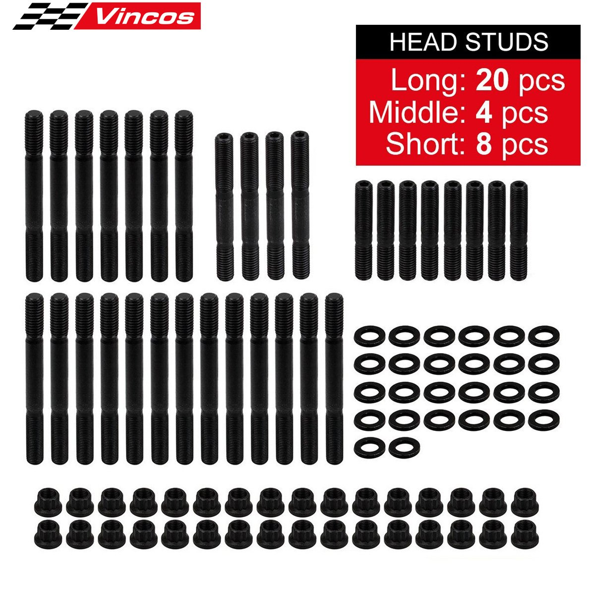 32pcs Cylinder Gasket Head STUDS Kit 134-4001/2451-S Fits for Chevy Competition