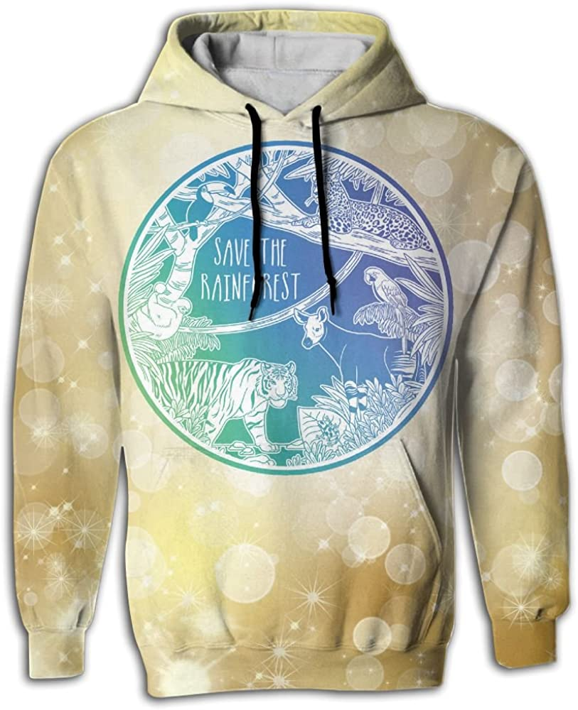 FUSALIN Save Rain ForestUnisex 3D Printed Sweatshirt Casual Pullover Hoodie With Big Pockets