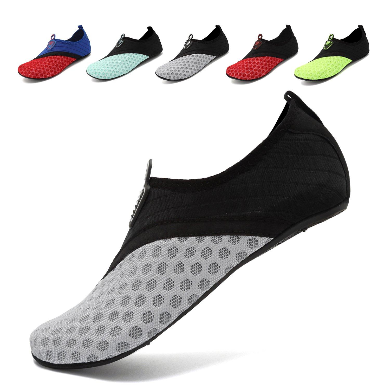 OUYAJI Unisex Water Shoes Barefoot Skin Shoes for Run Dive Surf Swim Beach Yoga Black/Gray-38/39