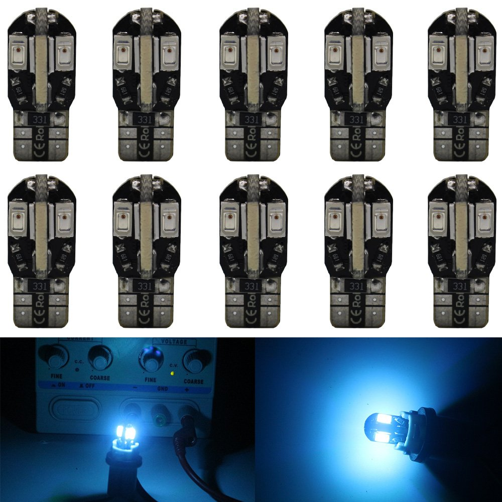 10-Pack T10 194 168 168 2825 Extremely Bright White 240Lums Canbus Error Free 12V LED Light, 8-SMD 5730 Chipsets Car Replacement Bulb For Map Dome Courtesy License Plate Side Marker Light Amazenar(TM)